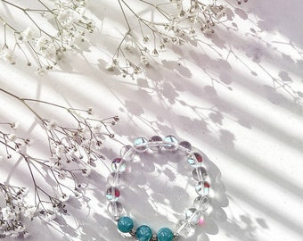 A bracelet with natural stone beads opal and blue quartz 10mm, silver 925