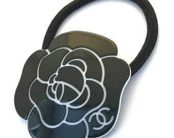 Black Chanel Flower Ponytail Holder Hair tie VIP Gift