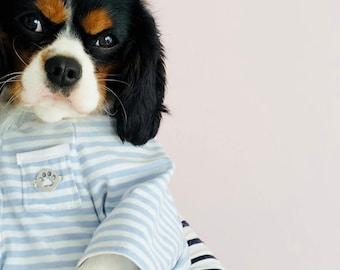 Classic Pale Blue & White Striped Dog Jumper