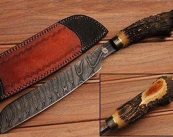 KS-01- Custom Handmade Damascus Steel Hunting Cleaver Style Knife With Stag Horn Handle