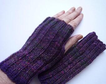 Wrist Warmers. Fingerless mitts. Hand spun. Hand Knit. Pure merino wool