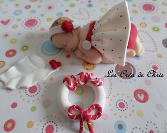 "baby girl theme ""noel"" polymer clay."