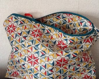 Toiletry bag in coated cotton multicolor