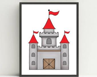 Castle Nursery Art Print, Knight, Children's  Medieval Decor, Kids Wall Art, Fairy Tale art