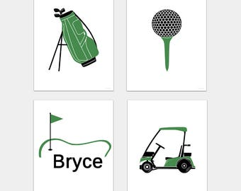 Golf Nursery Art Prints, kids golf bedroom decor, Golf Bag, Tee, Cart and Personalized print