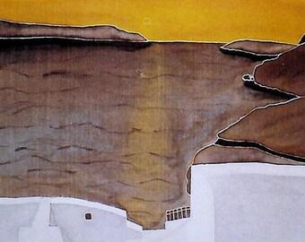 Photo card - silk painting - sunset on the island of Santorini in Greece