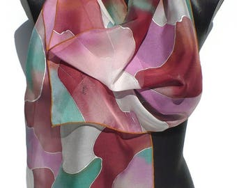 Scarf - silk scarf painted hand - chiffon - purple, rust, pale green scarf