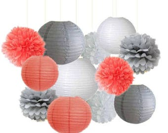 12pcs Mixed Coral Grey White Tissue Paper Pom Poms Paper Lanterns Girl Baby Shower Wedding Party Decoration