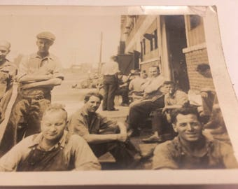 Depression era factory workers photograph - factory in background