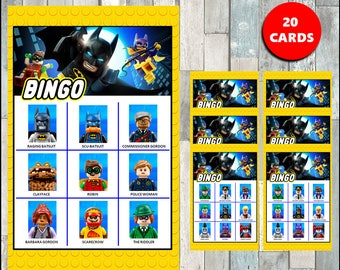 50 % off SALE Batman Lego Bingo Game - Printable - 20 different Cards - Party Game Printable - Half Page Size - INSTANT DOWNLOAD