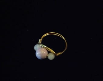 Rose Quartz and Riverstone Ring