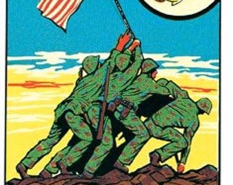 Vintage Style  Iwo Jima WW2 Military Marines USMC Marine Corps 1950's Travel Decal sticker