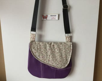 "Bag ""Cécile"" Purple leatherette and cotton fabrics"