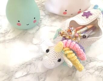Unicorn pencase / pouch / crocheted
