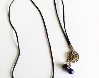 Bronze OWL necklace / black and blue OWL and beads