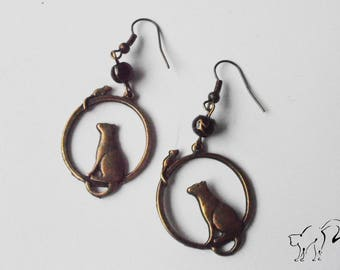 Earrings bronze cat and mouse and Black Pearl