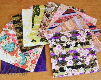 Japanese washi paper with various 10 cm - set of 10 patterns
