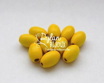 10 oval wooden beads / olive yellow 10 x 16 mm