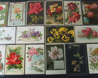 Lot Of 20 Early Flower Postcards 1900-1915.