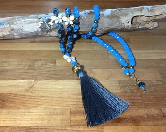 Butterfly Necklace and tassels made of semiprecious stones.