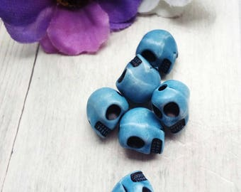 SET OF 6 BEADS DISTRESSED ACRYLIC BLUE SKULL
