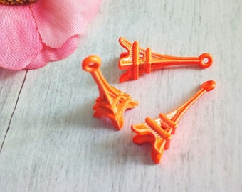 2 orange metal eiffel tower charms