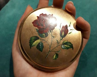 Cute, 1960s Stratton, England, Compact Mirror, used with powder, for handbag
