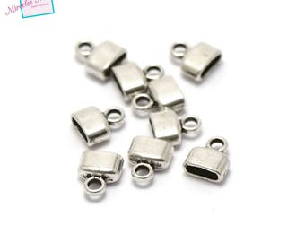 20 end caps for leather 9 x 8 x 4 mm silver 004