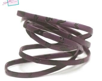 "1 m of imitation ""overlay"" Purple 5 mm flat leather cord"