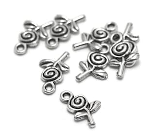 """10 charms """"flower"""" 15 x 9 mm, silver, A 004"""