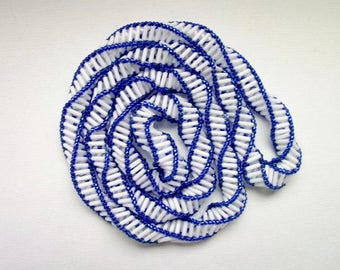 White and Blue Russian Spiral Stitch Necklace Bugle Bead Wearable Light Flexible No Clasp Long