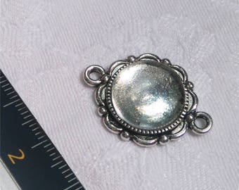 Backing / connector pendant + glass cabochon 14 mm
