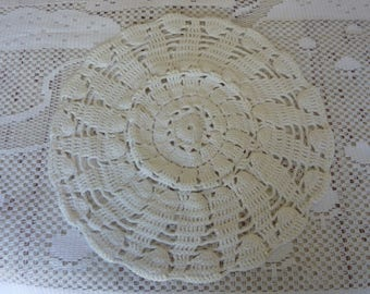 hand crocheted rose doily