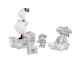 Bateau de pirate à construire et à colorier avec 12 feutres inclus / Kit créatif DIY enfant / Construction en carton et coloriage