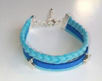 Blue multi strand bracelet, Pearl loops stars