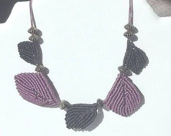 Macrame necklace plum and black leaves and wood beads