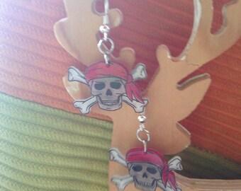 Red Skull stud earring