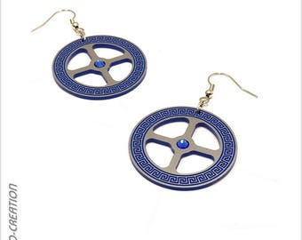 """Earrings collection GYRO """"Antic"""" (Silver/Blue)"""
