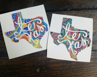 Red/Blue or Pink/Turquoise Texas Decal