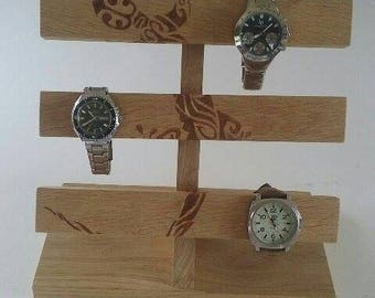 Watches and company in solid oak holder