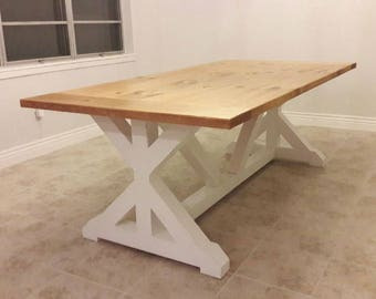 Nice Farmhouse Table, Farmhouse X Base Table, Farmhouse Trestle Base Table, FREE  SHIPPING