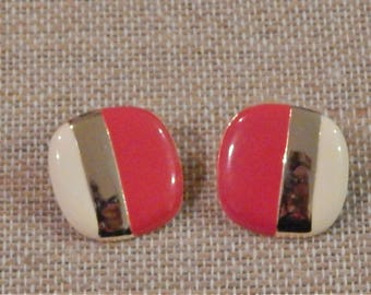 Vintage 1980's Rounded Edge Square Red, Goldtone, and Cream Earrings