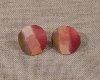 Vintage 1980's Wood Curved Olive green, tan, and red pierced earrings