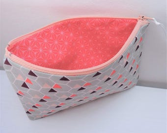 Small pouch purse geometric Pink Triangles