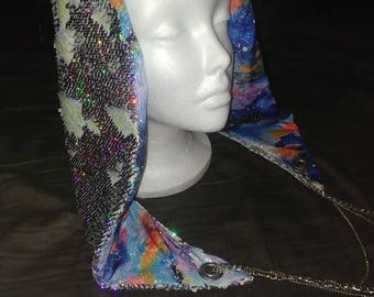Mermaid Sequin Cosmic Galaxy Reversible Chained Festival Hood - stash pocket - silver iridescent - burning man electronic music rave fashion