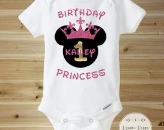 First Birthday Onesie, Disney Princess Onesie, 1st Birthday Onesie, Personalized Disney Princess Onesie, Minnie Onesie, Birthday Princess