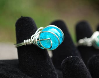 Blue Green Ocean Bead Silver Wire Ring Size 5 and 1/4