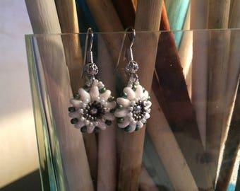 Earrings flowers winter morning