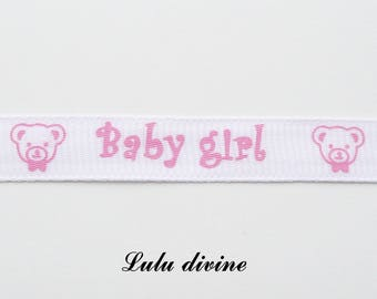 Baby girl Teddy bear with 10 mm white grosgrain Ribbon sold by 50 cm