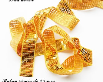 Ribbon / lace sequin glitter 25 mm, sold by 50 cm: yellow